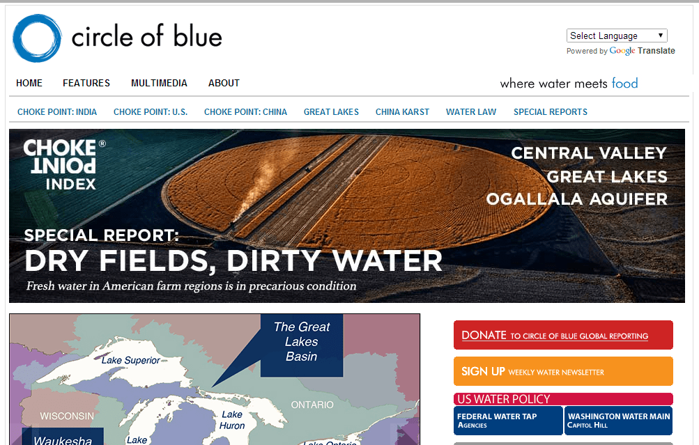 "News site about water around the world, ""Circle Of Blue"""
