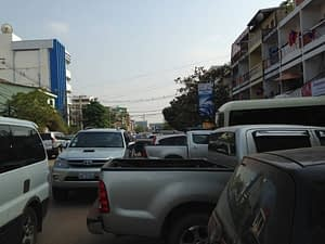 The capital Vientiane in Laos, almost no parking and signal, the road is a chaotic state. photo by Yoshimi Matsuo