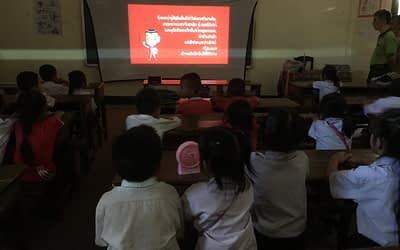 Traffic Safety Educational Video Screening in Vientiane, Laos